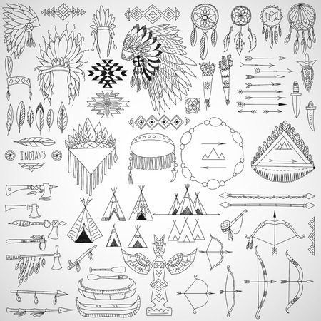 Collection of tribal doodle design elements  frames, arrows, bows, arms and headdresses  Vector illustration