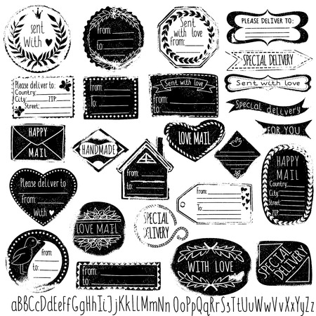 paper clip: Set of handmade stamps for mail, postage, delivery, address with hand-drawn font.
