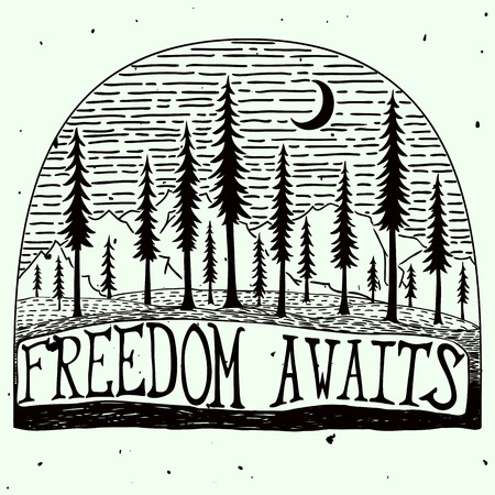 old moon: Freedom awaits grungy handdrawn quote poster