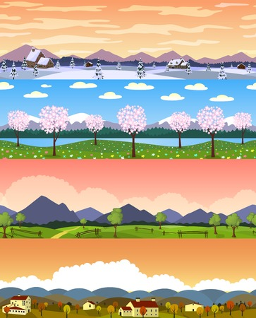 Four seasons landscape cartoon seamless backgrounds set. Vector
