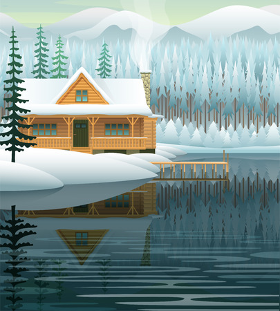 lake house: Vector winter landscape with mountain lake and wooden house