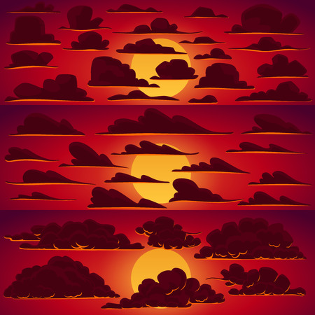 sunset clouds: Collection of vector cartoon clouds in sunset colors