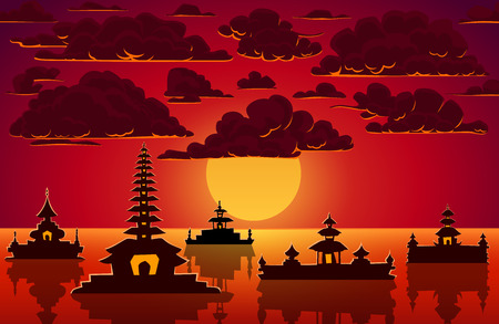 sunset clouds: Vector landscape with red sunset, clouds and indonesian temples.