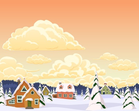 Vector winter landscape with village and trees Vector