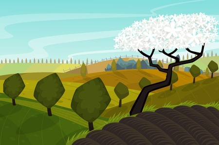 green fields: Vector spring landscape with green fields Illustration