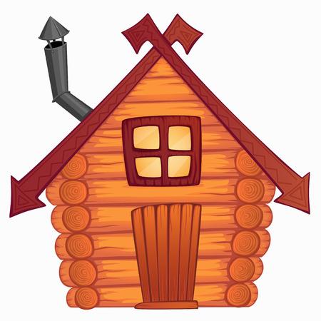 Vector cartoon legno piccola capanna
