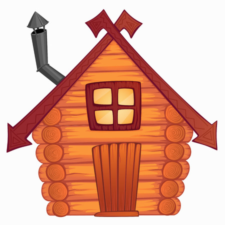 Vector cartoon wooden little shack Çizim