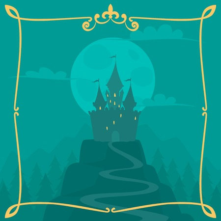 medieval banner: Vector square cartoon background with castle on the hill Illustration