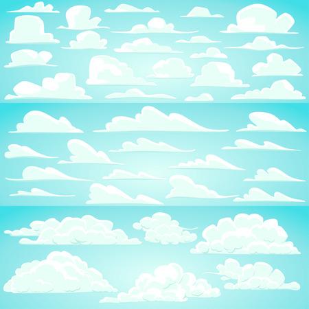 nubes caricatura: Colecci�n de vectores nubes de dibujos animados en diferentes formas