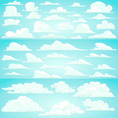 sky clouds: Collection of vector cartoon clouds in different shapes
