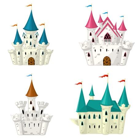 castillos de princesas: Colecci�n de vector del cuento de hadas de dibujos animados Castillo