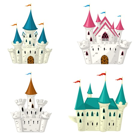 castello medievale: Raccolta di vettore cartone animato fiabesco castello Vettoriali