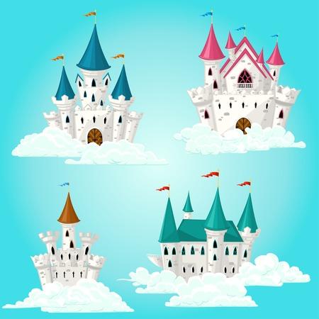 fairytale castle: Collection of vector cartoon fairytale castle in clouds