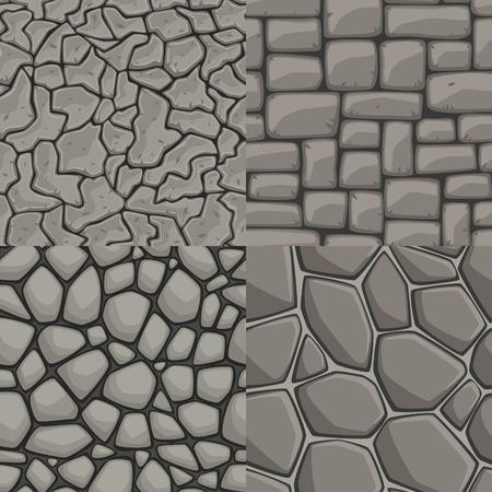 Vector cartoon stone wall seamless texture collection Vectores