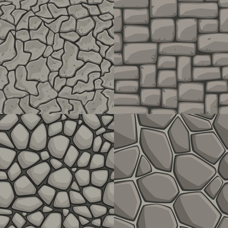 Vector cartoon stone wall seamless texture collection Çizim