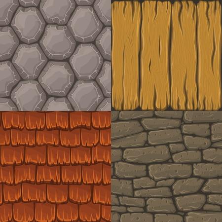 Colección de cuatro de dibujos animados vector de texturas sin fisuras. Las piedras, tejas y tablones de madera.