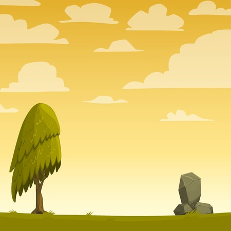 Cartoon nature background with a tree. Vector illustration. Vector