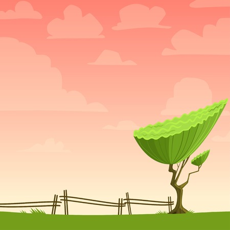 Cartoon nature background with a tree. Vector illustration Vector