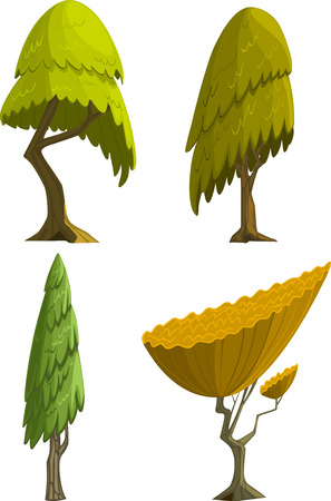 arboles de caricatura: Conjunto de cuatro árboles de dibujos animados estilizados