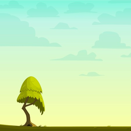 Cartoon nature background with a tree. Vector illustration.