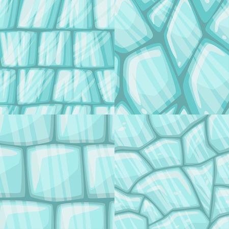 ice surface: Vector cartoon ice seamless texture collection