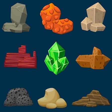 piedra laja: Vector de dibujos animados piedras minerales establecen