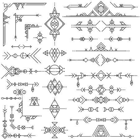 Collection of vector geometric line art design elements. Tribal style.