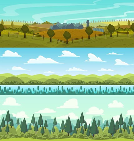 mountain landscape: Vector parallax landscape cartoon seamless backgrounds set.