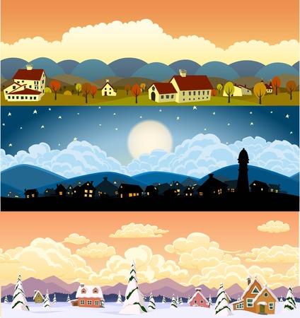 rise: Vector parallax landscape cartoon seamless backgrounds set.