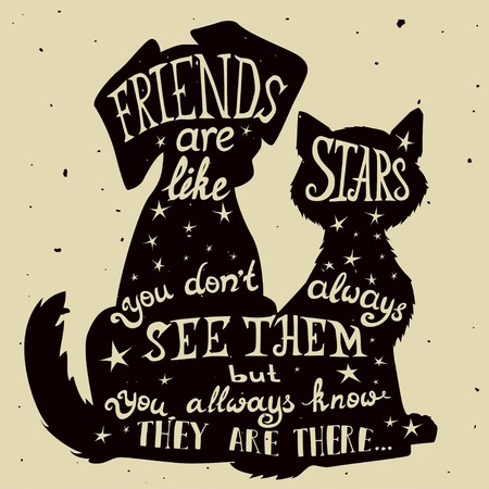 holiday pets: Cat and dog friends grungy card for Friendship Day with quote. Lettering greeting cards for all holidays series.