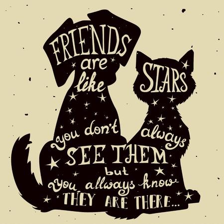 Przyjaciele kotów i psów do karty grungy Dzień Przyjaźni z cytatem. Napis kartki z życzeniami dla wszystkich wakacje serii. Ilustracje wektorowe
