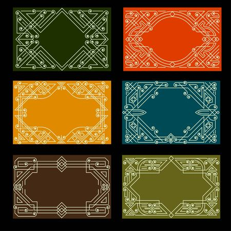 illustration line art: Set of visit card designs with linear ornate frames