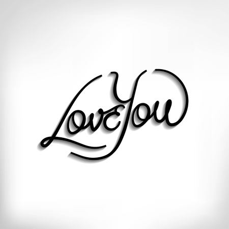 Love You hand lettering vector poster, typography background for Valentines Day Illustration
