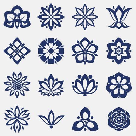 line drawing: Set of flower icons. Vector illustration. Illustration