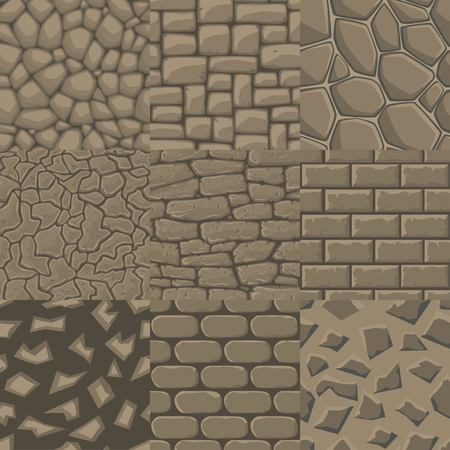 Vector cartoon stone wall seamless texture collection of 9 patterns.
