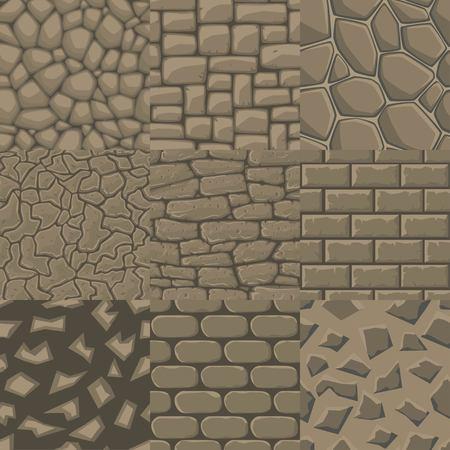 textura: Vector de dibujos animados de la pared de piedra textura perfecta colección de 9 patrones. Vectores