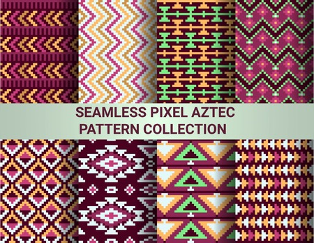 chevron patterns: Collection of bright seamless pixel patterns in tribal style. Aztec geometric triangle and chevron patterns.
