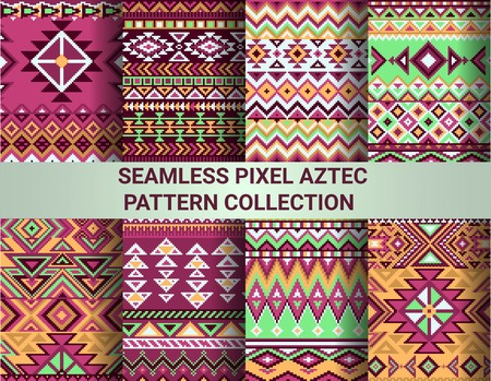 tribal: Collection of bright seamless pixel patterns in tribal style. Aztec geometric triangle and chevron patterns.