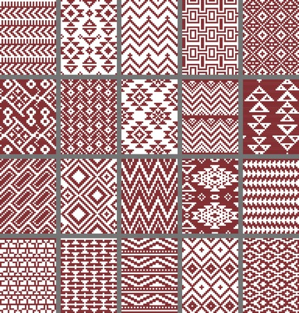 aztec: Collection of monochrome seamless pixel patterns in aztec geometric tribal style. Vector illustration. Stock Photo