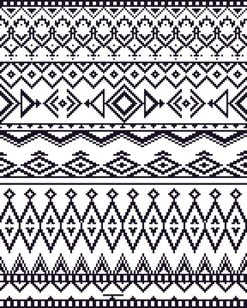 monochrome: Monochrome seamless background with pixel pattern in aztec geometric tribal style. Vector illustration. Stock Photo