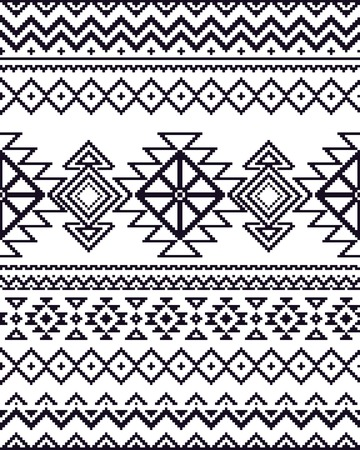 repeat pattern: Monochrome seamless background with pixel pattern in aztec geometric tribal style. Vector illustration. Illustration