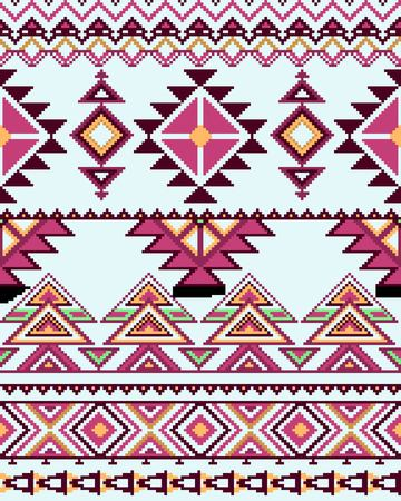 Bright seamless background with pixel pattern in aztec geometric tribal style. Vector illustration.