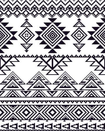 repeat pattern: Monochrome seamless background with pixel pattern in aztec geometric tribal style. Vector illustration. Stock Photo