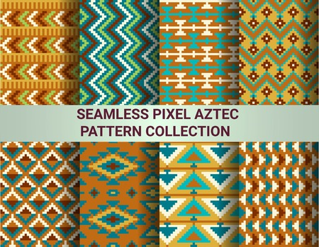 pantone: Collection of bright seamless pixel patterns in tribal style. Aztec geometric triangle and chevron patterns. Pantone colors. Illustration