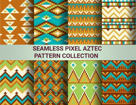 patterns and colors: Collection of bright seamless pixel patterns in tribal style. Aztec geometric triangle and chevron patterns. Pantone colors. Illustration