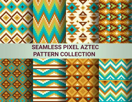 chevron patterns: Collection of bright seamless pixel patterns in tribal style. Aztec geometric triangle and chevron patterns. Pantone colors. Stock Photo