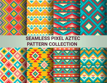 Collection of bright seamless pixel patterns in tribal style. Aztec geometric triangle and chevron patterns. Pantone colors. Standard-Bild