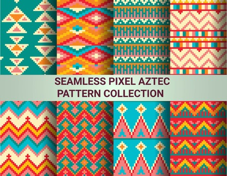 patterns and colors: Collection of bright seamless pixel patterns in tribal style. Aztec geometric triangle and chevron patterns. Pantone colors. Stock Photo