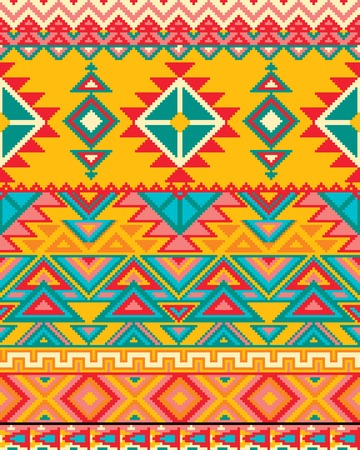 pantone: Bright seamless background with pixel pattern in aztec geometric tribal style. Vector illustration. Pantone colors. Illustration