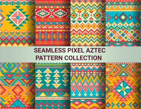 Collection of bright seamless pixel patterns in tribal style. Aztec geometric triangle and chevron patterns. Pantone colors. Ilustração